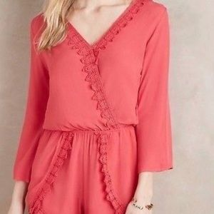 Anthropologie Elevenses coral romper